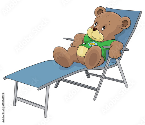 Bear Sunbathing And Resting On Sunbed, Teddy Bear Sitting On The Sunbed,  Beach Chair
