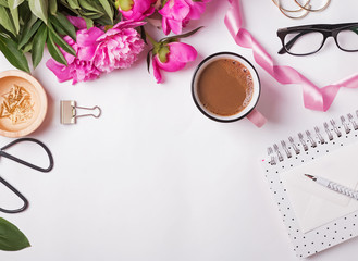 Peonies, coffee, glasses and other cute feminine accessories