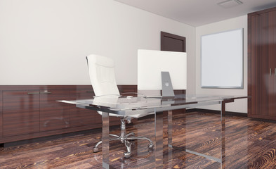 Front view of an office interior with a row of dark wood tables. 3D rendering. Empty paintings