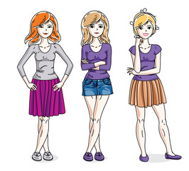 Happy cute young adult girls standing wearing fashionable casual clothes. Vector diversity people illustrations set. Fashion and lifestyle theme cartoons.