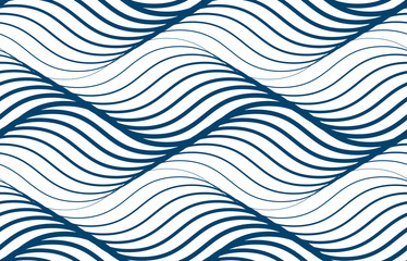 Water waves seamless pattern, vector curve lines abstract repeat tiling background, blue colored rhythmic waves. Fototapete