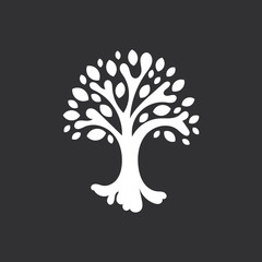 Abstract tree with leaves, life symbol, mascot white silhouette on black background.