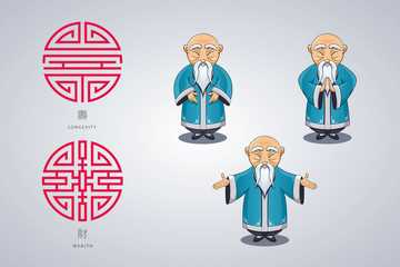 et of vector illustration gray-haired Asian old man in national clothes in different poses. Ancient symbol of longevity and wealth.