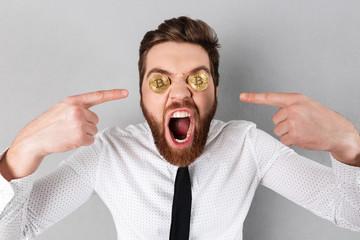 Close up of a crazy businessman