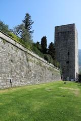 Historic city wall in Como at Lake Como, Italy