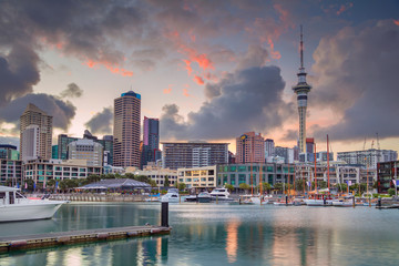 Wall Murals New Zealand Auckland. Cityscape image of Auckland skyline, New Zealand during sunrise.
