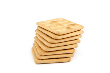 A stack of crackers isolated