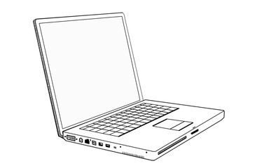 A notebook is on a white background. Linear picture