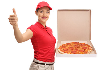 Pizza delivery girl making a thumb up gesture