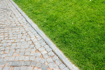 stone path and lawn