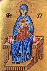 Mosaic of Virgin Mary and Jesus Christ