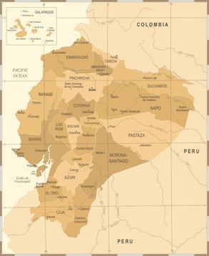 Ecuador Map - Vintage Detailed Vector Illustration