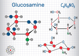 Glucosamine molecule, is one of the most abundant monosaccharides, is dietary supplement. Structural chemical formula and molecule model. Sheet of paper in a cage