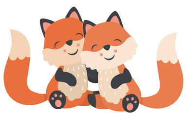 Cute Kawaii Style Baby Foxes Hugging Sitting Valentines Day Flat Vector Illustration Isolated on White