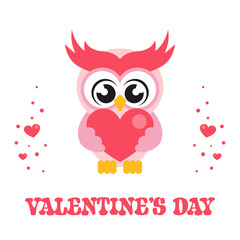 cartoon cute owl with heart and text