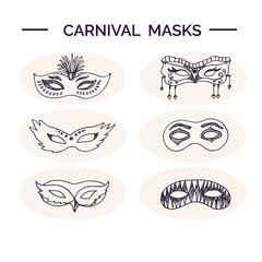 Hand drawn doodle carnival masks set.