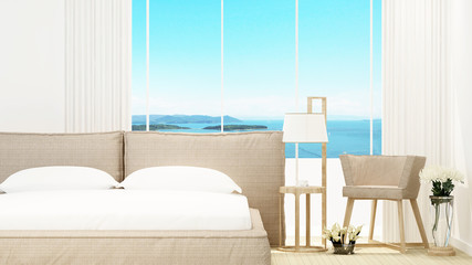 Bedroom and living area in hotel or home on sunshine day - Room of hotel and sea view - artwork for holiday time - Blur background - 3D Rendering