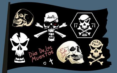 Pirate flag vector skull set