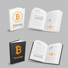 bitcoins books on transparent background