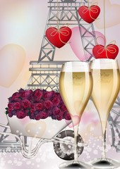 Champagne glasses and Eiffel Tower background. Vector realistic romantic cards