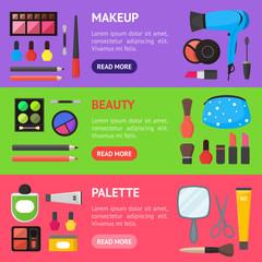 Flat Make Up Tools Cosmetics, Mascara and Brushe Banner Horizontal Set . Vector