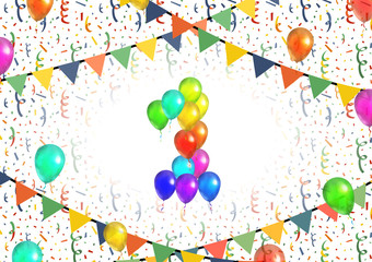 Number one made up from bright colorful balloons on background with confetti