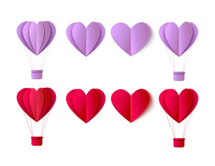 Vector happy valentines day origami paper red hearts, hot air balloon objects set. Invitation card, party poster, sale advertising design elements. Isolated holiday illustration on white background.