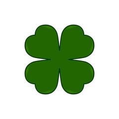 Vector Saint Patricks Day symbol - four-leaf clover. Lucky shamrock. Isolated on white background.