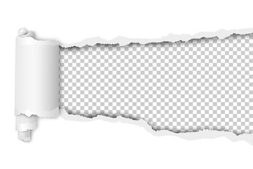 Vector torn hole in sheet of white paper. Transparent background of resulting window. Template paper design.