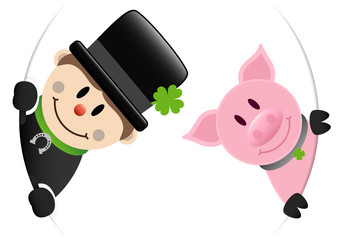 Chimney Sweeper & Pig Round Banner Silver Horseshoe