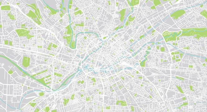 Urban vector city map of Manchester, England
