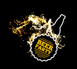 Beer party. Splash of beer with bubbles on a black background. illustration