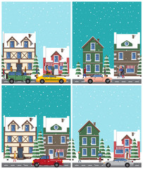 Cityscape Collection of Poster Vector Illustration