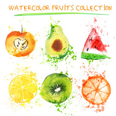 Set of Fresh fruit watercolor objects. Watercolored apple, citruses, avocado and qiwi in one art collection with splashes. Healthy lifestyle set with fruits and juice splash