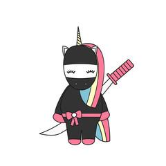 cute cartoon vector illustration with ninja unicorn with sword