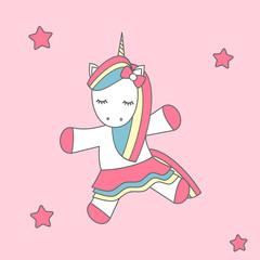 cute cartoon vector dancing unicorn