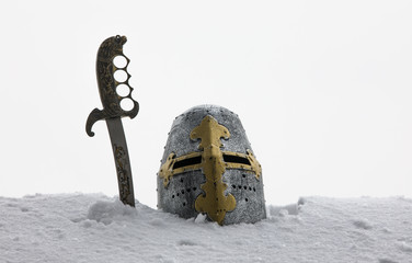 knight's helmet in the snow