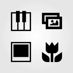 Multimedia vector icons set. photo, macro and picture