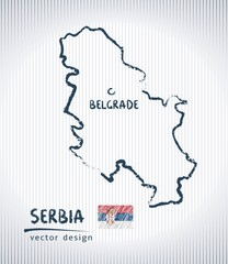 Serbia national vector drawing map on white background