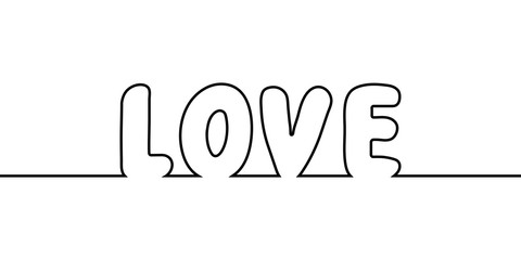 word love text one line drawing, vector cartoon letters love the one line drawing