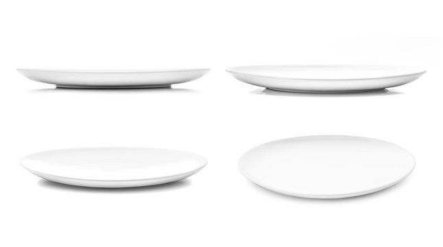 white dish or ceramic plate isolated on white background