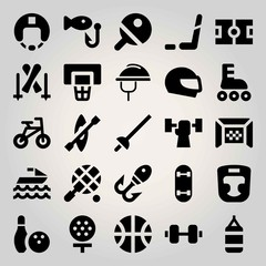 Sport vector icon set. roller skate, fishing, tennis and weightlifting