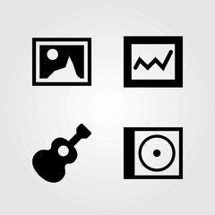 Multimedia vector icons set. analytics, picture and compact disk