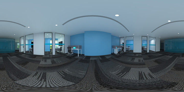 3d illustration spherical 360 vr degrees, a seamless panorama of the room and office interior design (3D rendering)