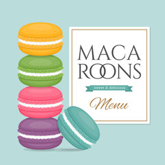 Aluminium Prints Macarons Stack of colorful macaroons. Different cake macaron. Flat style, vector illustration.