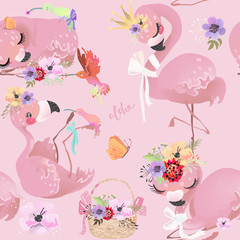 Cute flamingo pink baby princess exotic bird with crown, tied bow and flowers, hummingbird, butterfly and basket seamless pattern