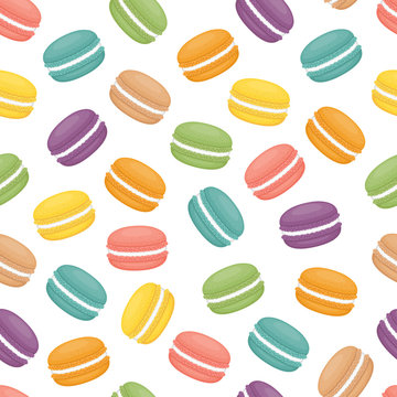 Seamless pattern with macaroons. Colorful macarons cake. Flat style, vector illustration.
