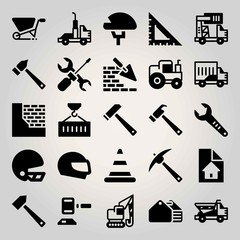 Construction vector icon set. container, toolbox, auction and tractor