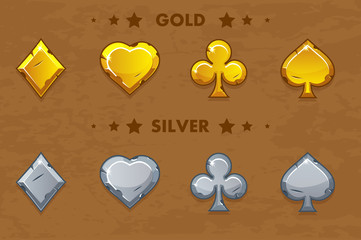 Peak, tref, chirva and tambourine, old golden and silver icons of playings cards