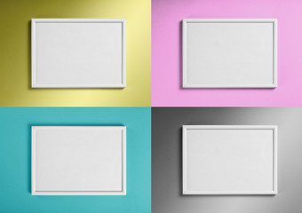 Set of white frames for paintings or photographs on different background.